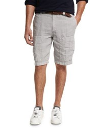 Brunello Cucinelli Linen Cargo Shorts Light Gray