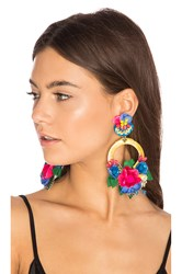 Ranjana Khan Flower Hoop Earring Blue