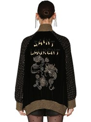 Saint Laurent Long Embellished Velvet Bomber Jacket Black