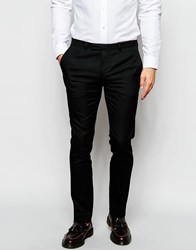 Noose And Monkey Wool Trousers In Skinny Fit Black