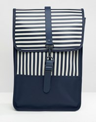 Rains Mini Backpack Distorted Stripes Navy