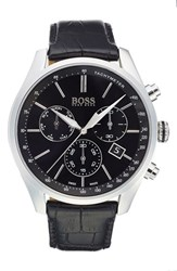 Boss Swiss Made 'Millisime' Chronograph Leather Strap Watch 46Mm