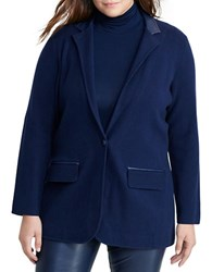 Lauren Ralph Lauren Plus Single Button Knit Blazer Navy