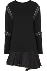 Jay Ahr Zip Detailed Scuba Jersey And Denim Mini Dress Black