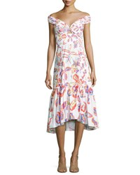 Peter Pilotto Off The Shoulder Floral Print Midi Flounce Dress White