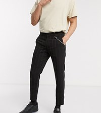 Reclaimed Vintage Inspired Trouser With Chain In Black Stripe