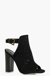 Boohoo Peeptoe Laser Cut Shoe Boot Black