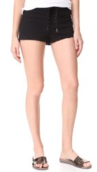 Pam And Gela Cropped Lace Up Shorts Black