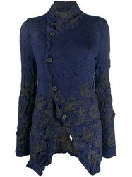 Y's Off Centre Button Cardigan Blue