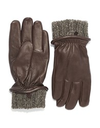Black Brown Leather And Knit Gloves Beige