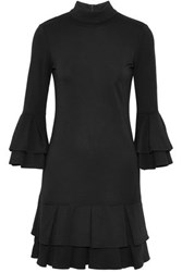 W118 By Walter Baker Tiered Ruffled Stretch Jersey Mini Dress Black