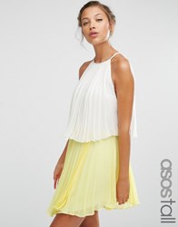 Asos Tall Tiered Colourblock Pleated Mini Dress White Yellow Multi