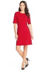 Petite Women's Tahari Button Shoulder Ponte A Line Dress Red