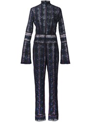 Yigal Azrouel Rose Embroidered Jumpsuit Black