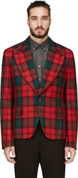 Comme Des Garcons Red And Green Plaid Blazer