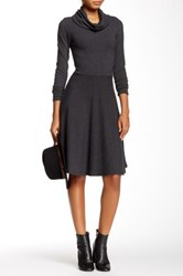 Go Couture Cowl Neck A Line Sweater Dress Gray