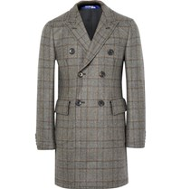 Junya Watanabe Lim Fit Double Breated Prince Of Wale Checked Wool Coat Brown