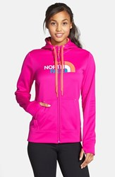 The North Face Women's 'Half Dome' Full Zip Fleece Hoodie Luminous Pink Orange Multi