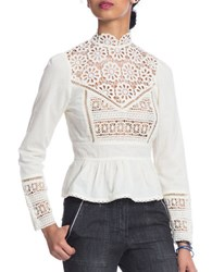 Plenty By Tracy Reese Victorian Lace Peplum Top Ivory