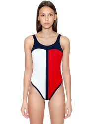 Tommy Hilfiger Flag One Piece Swimsuit Red White Blue
