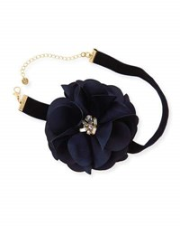 Lydell Nyc Statement Flower And Ribbon Choker Necklace Black