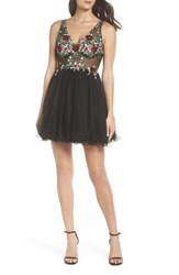 Blondie Nites Embroidered Fit And Flare Dress Black Multi