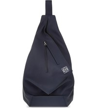 Loewe Anton Leather Backpack Navy Blue