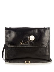 Hillier Bartley Fold Over Leather Shoulder Bag Black