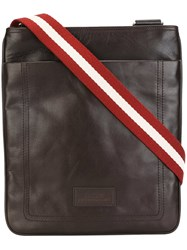Bally Striped Strap Messenger Bag Brown