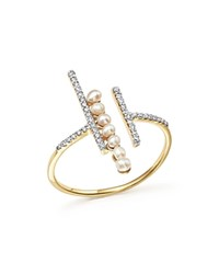 Mateo 14K Yellow Gold Diamond And Cultured Freshwater Pearl Bypass Ring White Gold