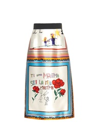 Dolce And Gabbana Drawing Print Silk Full Skirt