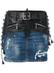 Dsquared2 Lace Up Detail Mixed Denim Skirt Black