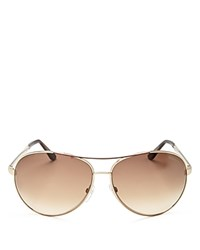 Tom Ford Charles Aviator Sunglasses 65Mm Shiny Rose Gold Gradient Brown