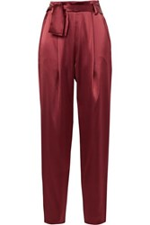 Sally Lapointe Belted Satin Tapered Pants Claret