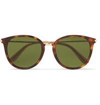 Bottega Veneta Round Frame Tortoiseshell Acetate And Gold Tone Sunglasses Brown