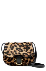 J.Crew 'Rider' Italian Leather And Genuine Calf Hair Mini Bag Brown Hazelnut Leopard Calf Hair