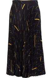 Victoria Beckham Pleated Printed Crepe De Chine Midi Skirt Black