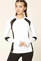 Forever 21 Active Mesh Panel Top White Black