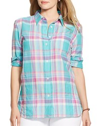 Lauren Ralph Lauren Plus Plaid Button Front Blouse Multi
