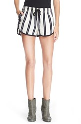 Rag And Bone Women's Rag And Bone Jean 'Beach' High Rise Stripe Shorts White Stripe