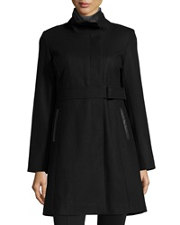 Via Spiga Wool Blend Coat W Faux Leather Trim Black