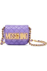 Moschino Neon Quilted Leather Shoulder Bag Violet