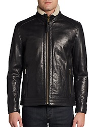 Marc New York By Andrew Marc Performance Nathan Leather Bomber Jacket Black