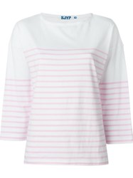 Steve J And Yoni P Striped 3 4 Sleeves T Shirt Pink And Purple