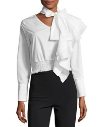 Stylekeepers The Cyrus Tie Neck Long Sleeve Cotton Poplin Top White