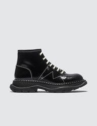 Alexander Mcqueen Patent Leather Ankle Boots Black
