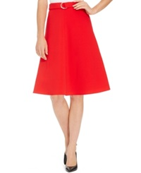 Nine West A Line Belted Skirt Cherry