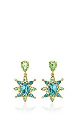 Oscar De La Renta Aqua Tropical Bloom Star C Earring Blue