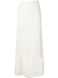 Theory Crochet Knit High Waist Skirt White