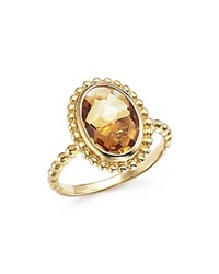 Bloomingdale's Citrine Oval Beaded Ring In 14K Yellow Gold Orange Gold